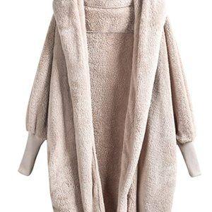 Cream Fleece Fuzzy Cardigan Jacket